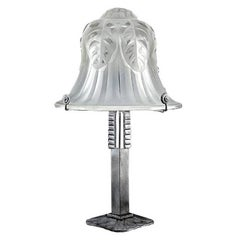Large French Art Deco Hortensia Table Lamp by FAG, 1925