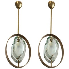 Pair of Italian Pendants by Max Ingrand for Fontana Arte