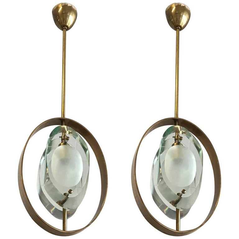 Pair of Italian Pendants by Max Ingrand for Fontana Arte For Sale
