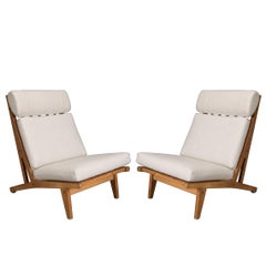 Pair of GE375 High Back Lounge Chair by Hans Wegner for GETAMA