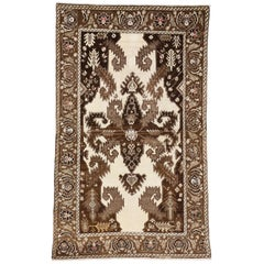 Brown and Cream Vintage Turkish Oushak Rug with Modern Tribal Style