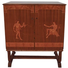 Tempting Mjolby Intarsia Bar Cabinet from Sweden, circa 1920s