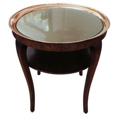 Swedish Smoking Table, This Side 1920s Table Features a Hammered Copper Tray