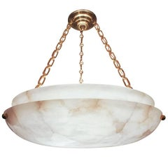 Muted Yet Hard-Edged, This Alabaster from 1920s Sweden Rocks Shiny Brass Chains
