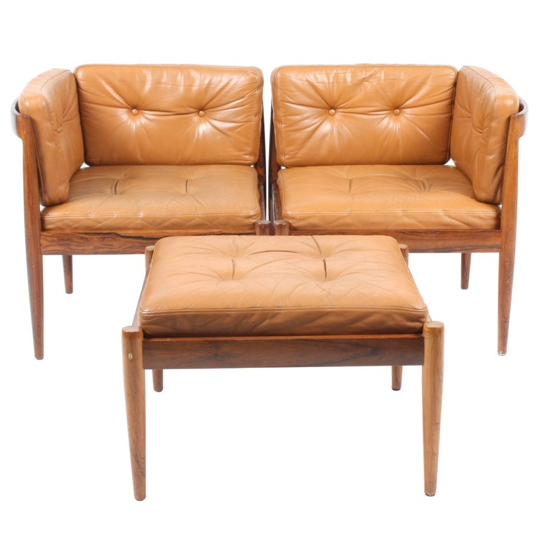 Pair of Lounge Chairs with Ottoman