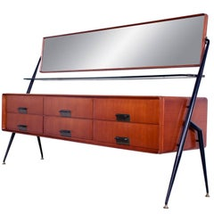 Mid-Century Modern Italian Vanity Dresser with Mirror by Silvio Cavatorta, 1950s