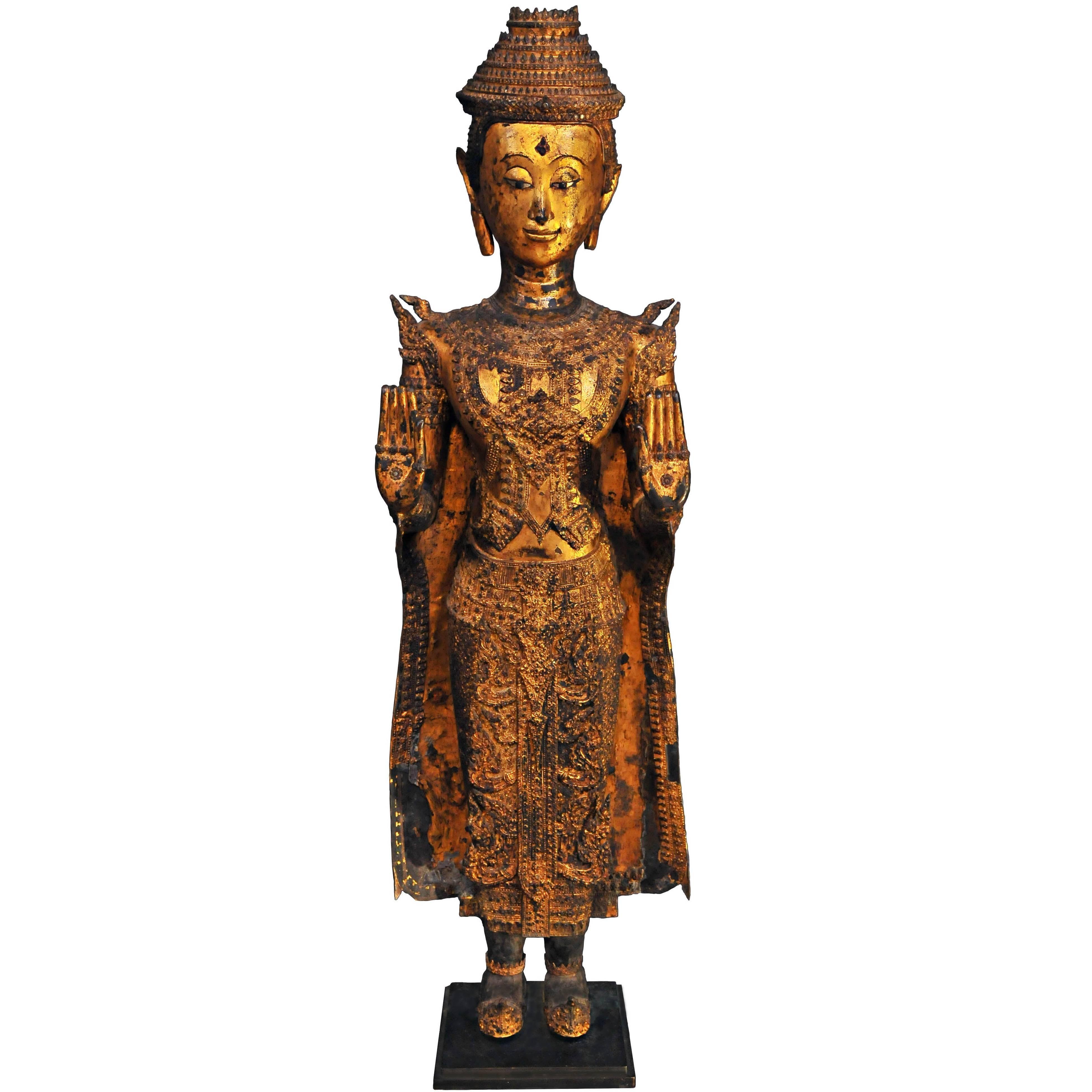 18th Century, Gilded Bronze, Crowned Buddhain Abhaya Mudra, Art of Thailand