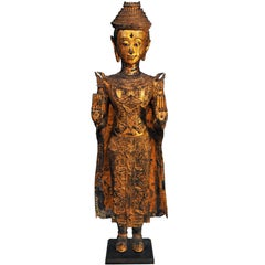 18th Century, Gilded Bronze, Crowned Standing Buddha in Abhaya Mudra, Thailand