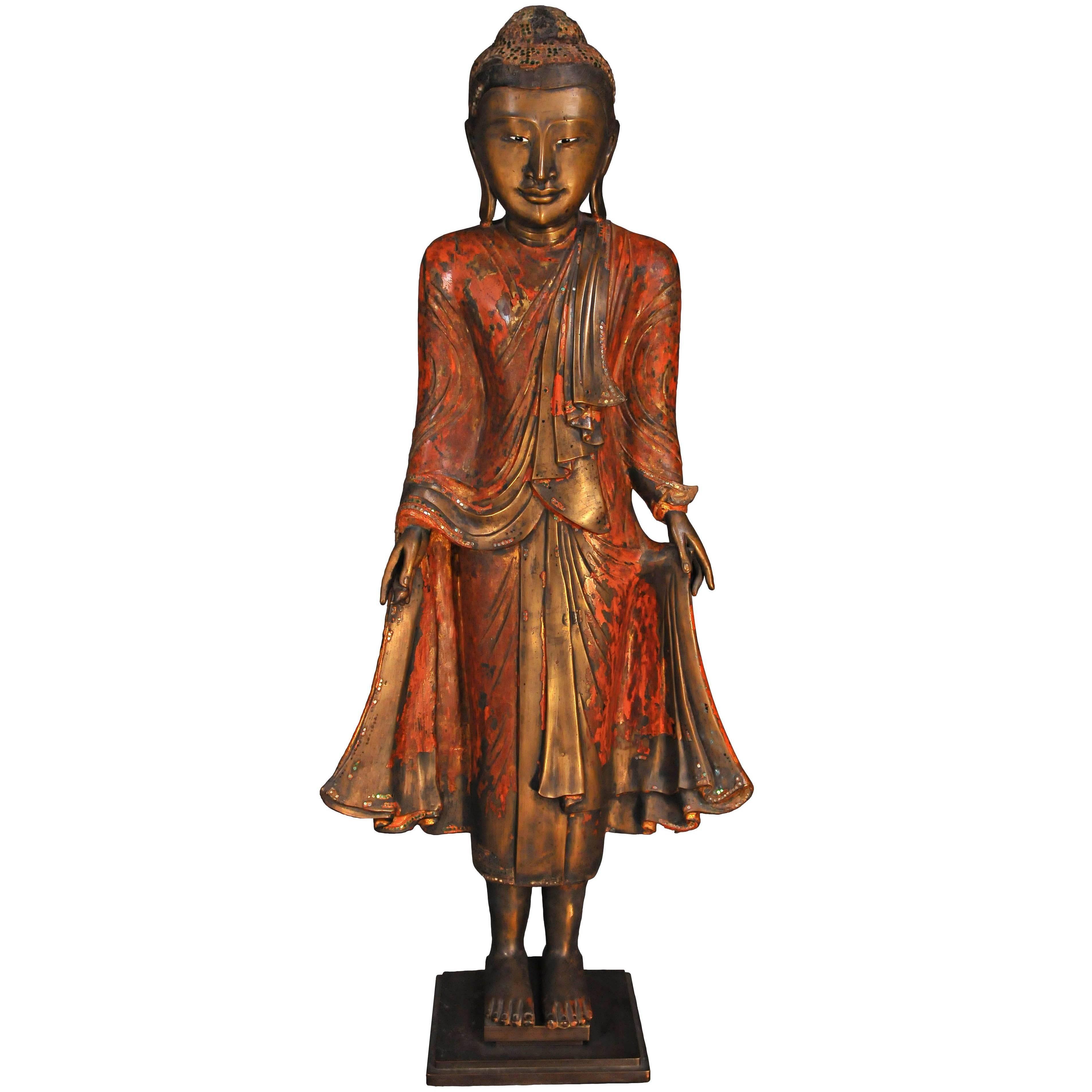 18th Century, Lacquered Bronze, Buddhain Abhaya Mudra, Art of Burma