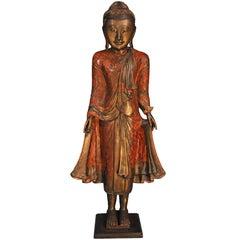 18th Century, Lacquered Bronze, Standing Buddha in Abhaya Mudra, Art of Burma