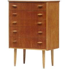 Small Danish, 1960s Teak Chest of Drawers