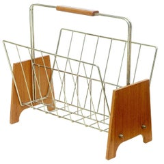 1960s Scandinavian Teak and Brass Magazine Rack