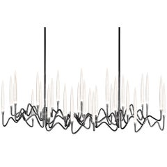 """Il Pezzo 3 Long Chandelier"" Black Nickel Lamp with Crystals Illuminated by LEDs"