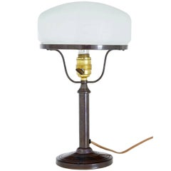 1960s Bronze Table Lamp with Frosted Glass Shade
