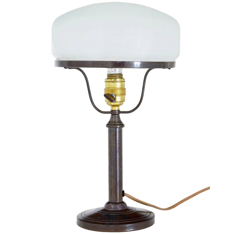 1960s Bronze Table Lamp With Frosted Glass Shade For Sale At 1stdibs