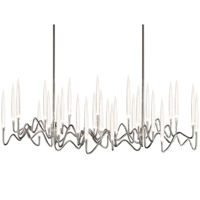 """""""Il Pezzo 3 Long Chandelier"""" LED lamp in nickel finish with crystal candles"""