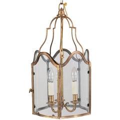 French Gilt Brass Serpentine Glass Lantern