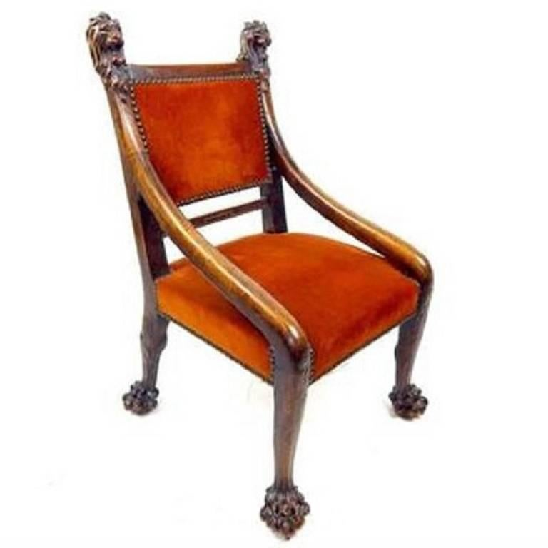 Fine 19th Century Irish Mahogany Side Chair, the Back Carved with Lion Heads