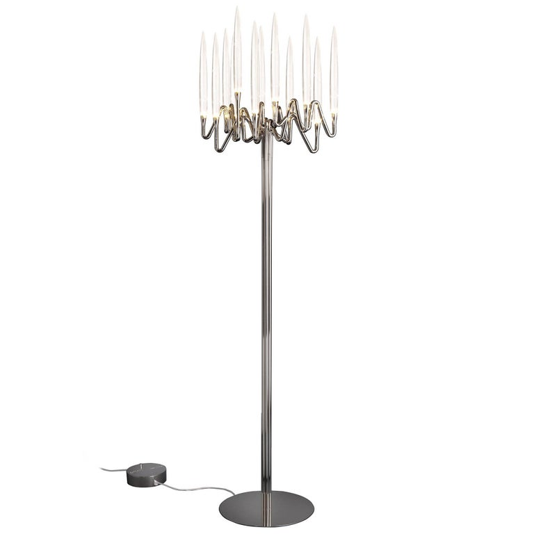 """Il Pezzo 3 Floor Lamp"" nickel plated brass lamp with solid crystal candles"