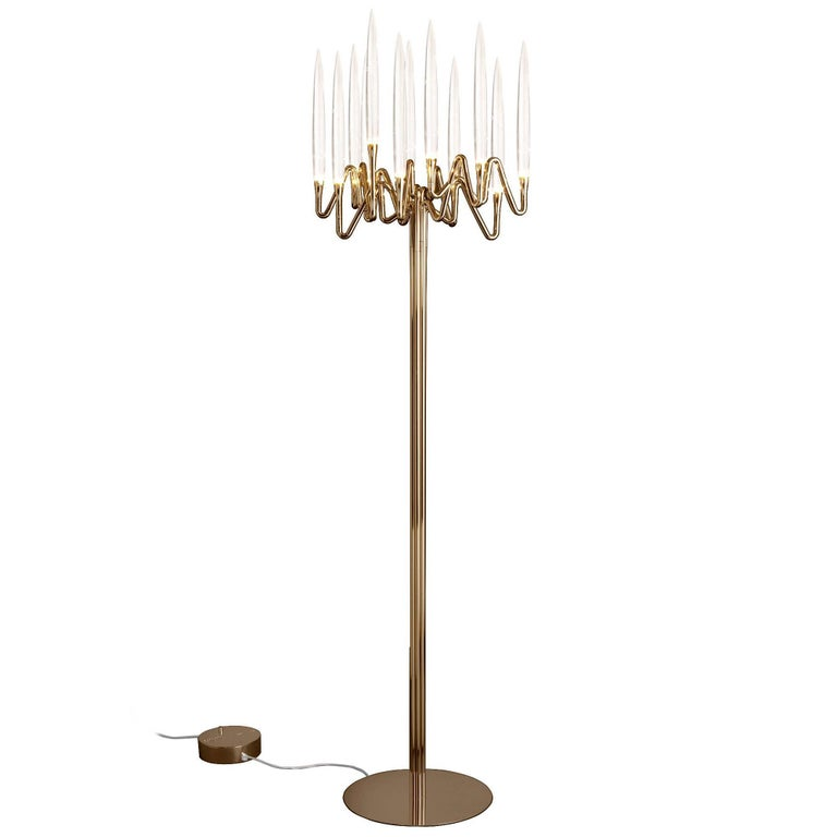 """Il Pezzo 3 Floor Lamp"" contemporary candelabrum lamp made of gold plated brass"