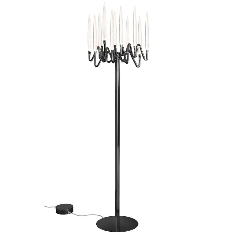 """""""Il Pezzo 3 Floor Lamp"""" 21st Century black nickel plated brass and crystal lamp"""