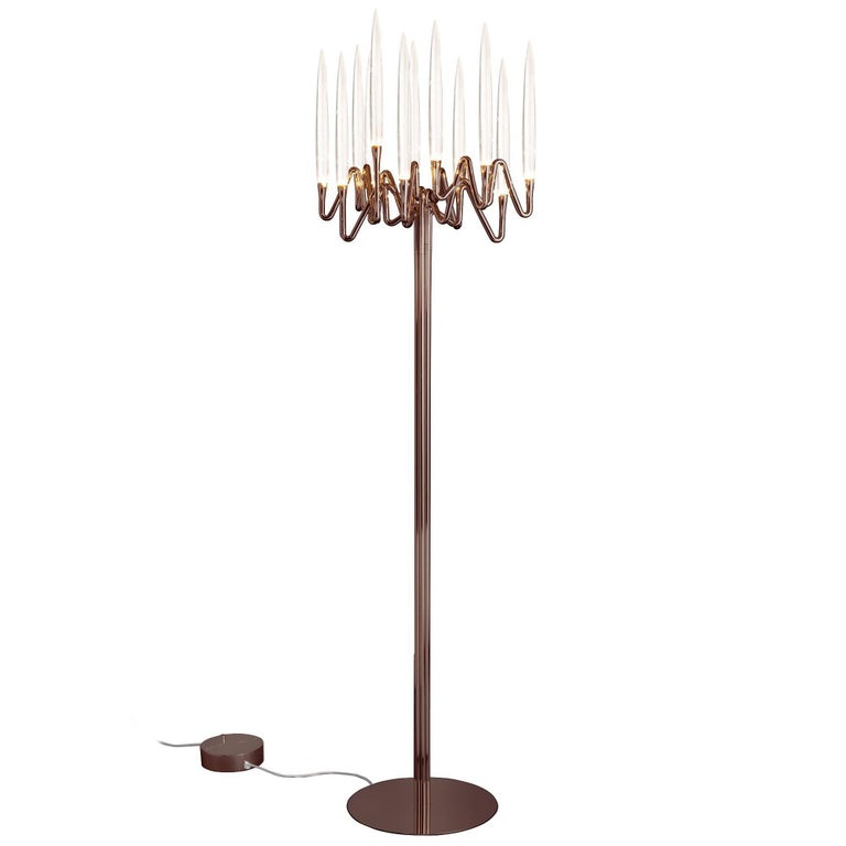 """""""Il Pezzo 3 Floor Lamp"""" bronze shadow candelabrum lamp with solid crystals"""