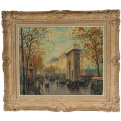 Jean Salabet Oil on Canvas of Paris Street Scene