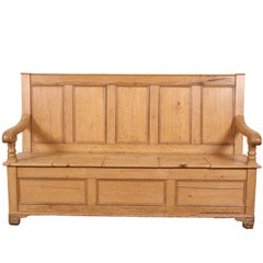 Antique Pine Settle, Hall Bench