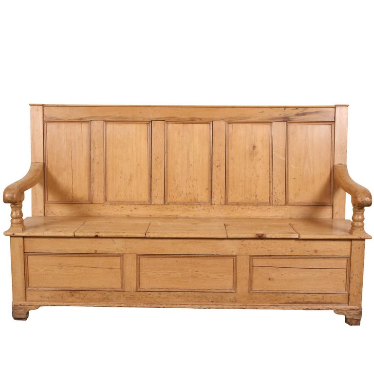 Antique Pine Settle, Hall Bench For Sale - Antique Pine Settle, Hall Bench For Sale At 1stdibs