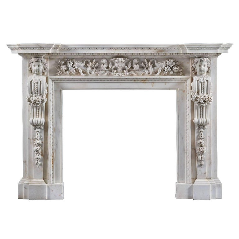 Magnificent Antique George II Palladian Fireplace Mantle