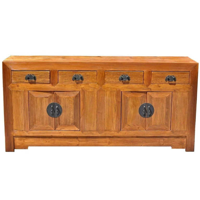 Solid Elm Wood Sideboard Rustic Wood Finish For Sale At 1stdibs