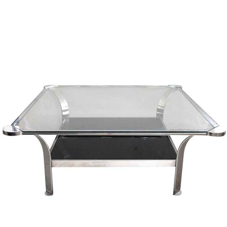 Large French Steel Coffee Table With Clear Gl Top Black Lower Shelf For