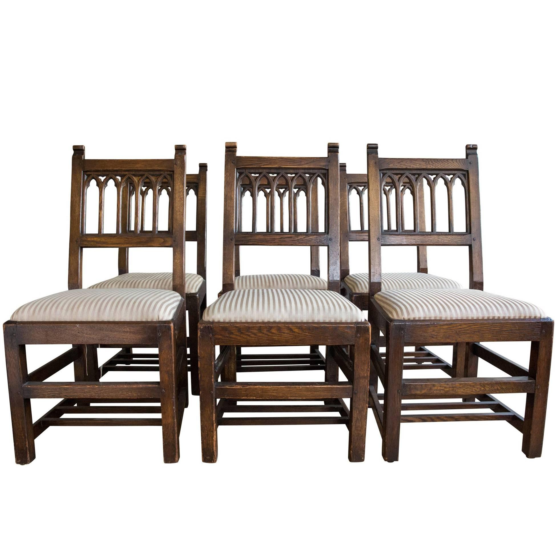 Set Of Six Oak Gothic Revival Pew Chairs From Riverside Church For Sale
