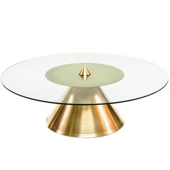 Halo Coffee Table in Brass-Plated Steel by Erickson Aesthetics
