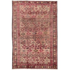 Pink Vintage Persian Baluch Rug with Modern Tribal Style