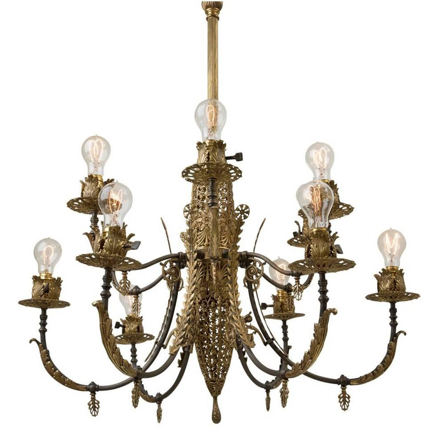 1880s chandeliers and pendants 52 for sale at 1stdibs magnificent 12 light gas empire chandelier with filigree body circa 1880 mozeypictures Image collections