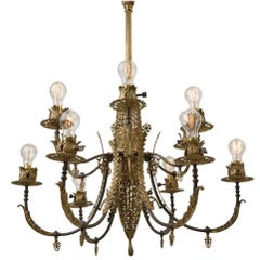 Magnificent 12-Light Gas Empire Chandelier with Filigree Body, circa 1880
