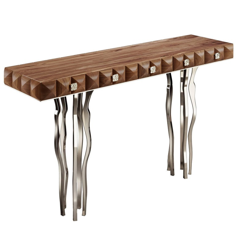 """""""Il Pezzo 10 Console"""" made of solid American walnut and nickel plated brass"""