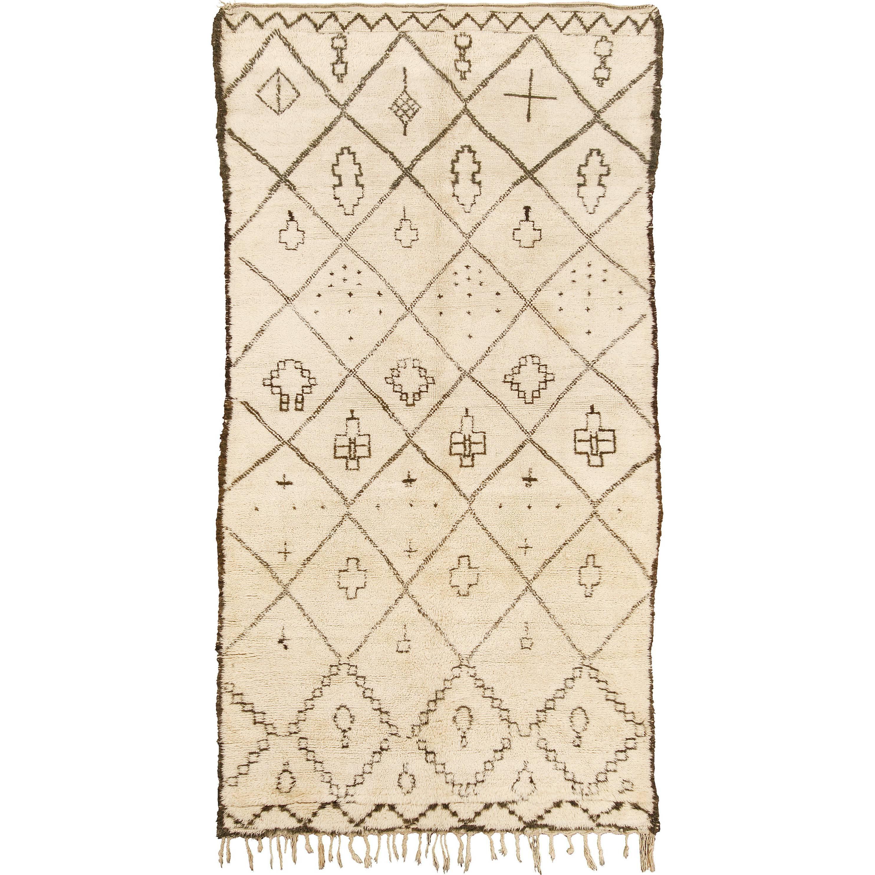 Mid-20th Century Moroccan Beni Ourain Rug