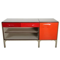 Raymond Loewy Writing Desk DF2000 in Red ABS