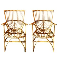 Pair of Sculptural French Rattan Armchairs
