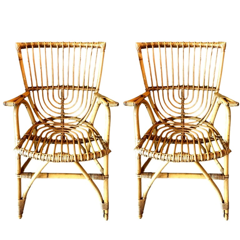 Pair of Sculptural French Rattan Armchairs For Sale