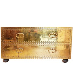Midcentury Brass Campaign Chest or Coffee Table
