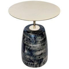 """Celestine"" Ltd. Ed. Glazed Stoneware and Gold-Plated Steel Table by P. Girardin"