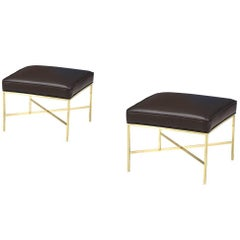 """Paul McCobb """"Irwin Collection"""" X-Base Brass Stools for Calvin Group"""