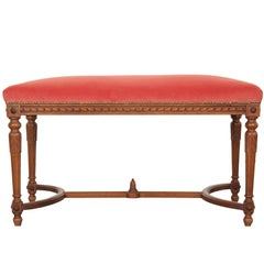 French 19th Century Louis XVI Upholstered Walnut Bench