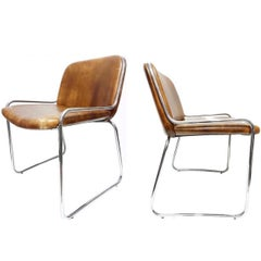 Pair of French Chrome and Leather Side Chairs