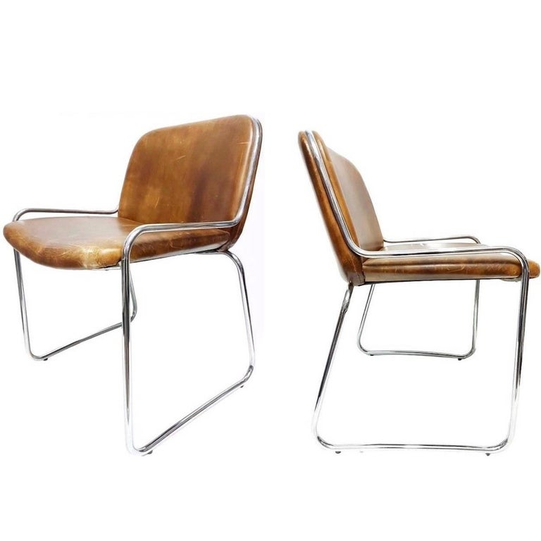 French Chrome and Leather Side Chairs