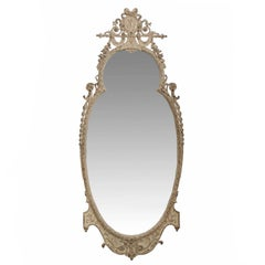 Carved White Painted Antique Pier Mirror in the Adam's Taste, Early 20th Century