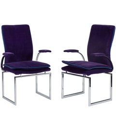 Pair of Vintage Chrome Armchairs